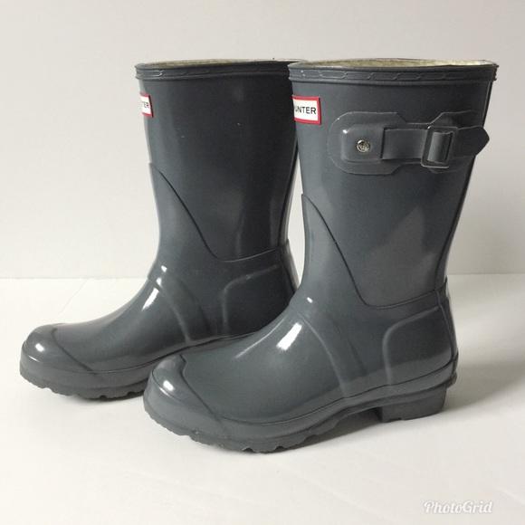 7d7b8a9a5c44 Hunter Shoes - Hunter Original Short Gloss Rain Boots Dark Slate